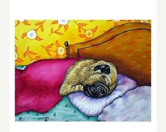pug art - Pug Sleeping Dog Art Print - pug gifts