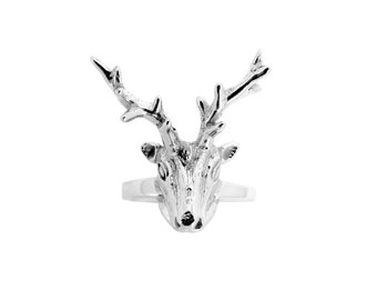 """My sweet deer"" trophy deer head ring in sterling silver"