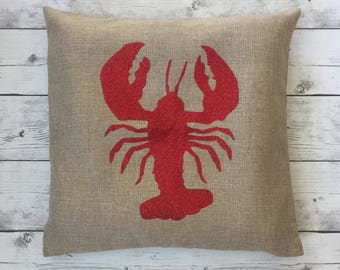 Lobster pillow, Beach nautical pillow cover, beach house decor, nautical living room, decorative pillow