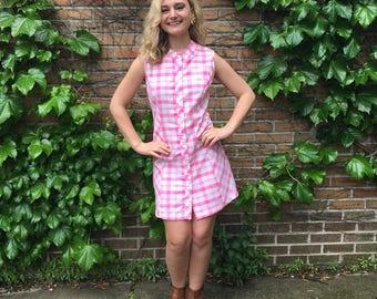 Vintage 1960's Neon Pink Sleeveless Plaid Shift Dress
