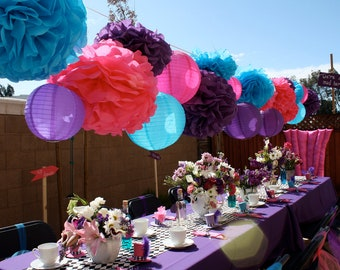 30 Tissue Pom Poms - Mad Hatter Tea Party Decorations  - Your Color Choice- SALE