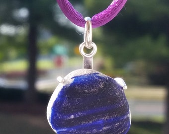 Large Seaham Purple/Indigo Multi Sea Glass Pendant. Sterling Silver Pendant. English Glass. Handmade Jewelry.  Sea Glass Jewelry