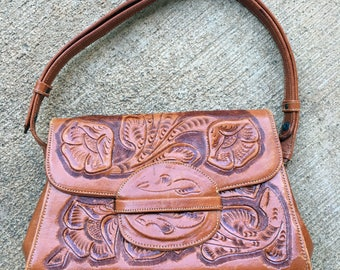 Vintage Mexican Tooled Leather Handbag