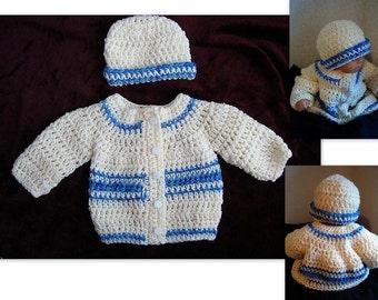 CROCHET PATTERN, baby sweater, baby boy crochet pattern, cardigan, hat, set, children, age 4, toddlers, childrens clothing, num 490