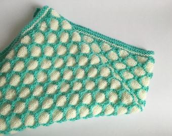 Hand knitted honeycomb baby blanket