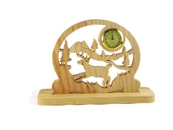 Deer Country Scene Desk Or Shelf Clock Handmade From Ash Wood By KevsKrafts Woodworking
