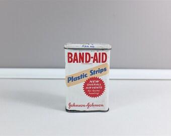 Vintage Band-Aid tin box - Plastic Strips metal tin - Plasters box - Band Aid by Band Aid Tin Box
