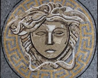 Medusa Geometrical Square Handmade Wall Art Marble Mosaic FG1122