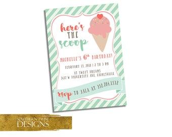 Here's the Scoop Party Invitation - Ice Cream Invitation - Ice Cream Birthday Invitation - Ice Cream Girl Birthday Invitation Printable