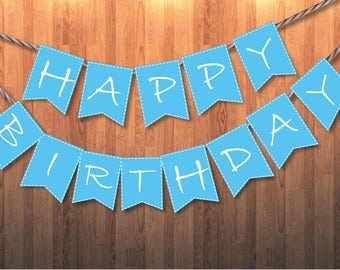 Bunting Banner Printable Alphabet Letters Blue for Birthday Party or Special Event Instant Download