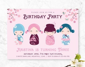 Japanese Birthday Invite, Kokeshi Invitation, Japanese Doll, Girls Printable Birthday Invite, Kokeshi Birthday invite, 1st, 2nd, 3rd, 4th