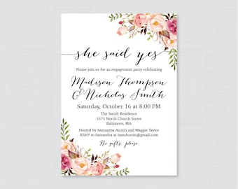 Pink Floral Engagement Party Invitation Printable or Printed - Rustic Garden Engagement Shower Invite, Pink Flower She Said Yes Invites 0024
