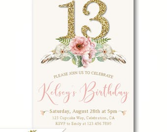 Teen's 13th Birthday Invitations, Girl's 13th Invitations, Teenager Birthday Party Invites, Slumber Party, Sleepover, Printable or Printed