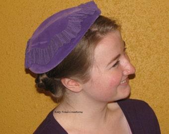 Vintage Purple Hat with Pleated Ribbon