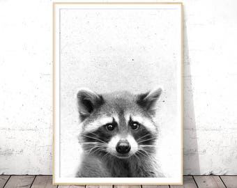 Raccoon Print, Woodland Animals, Nursery Wall Art, Black and White, Baby Shower Gift, Digital Download, Printable Poster, Farmhouse Decor