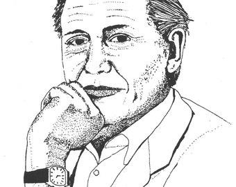 Illustrated David Attenborough Screen Print Portrait T Shirt
