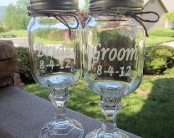 Redneck WIne Glass,  Bride and Groom Glasses,