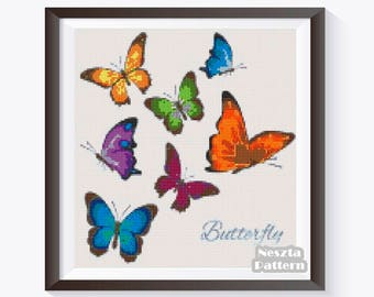 Butterfly Cross Stitch Pattern, Butterfly x stitch pattern, Cross stitch Embroidery, Embroidery pattern