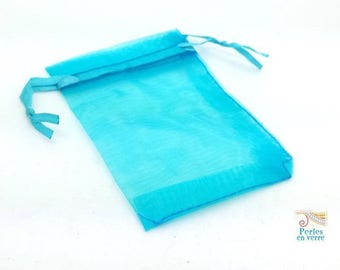 10 turquoise blue organza 7x9cm jewelry (ou40) sleeves