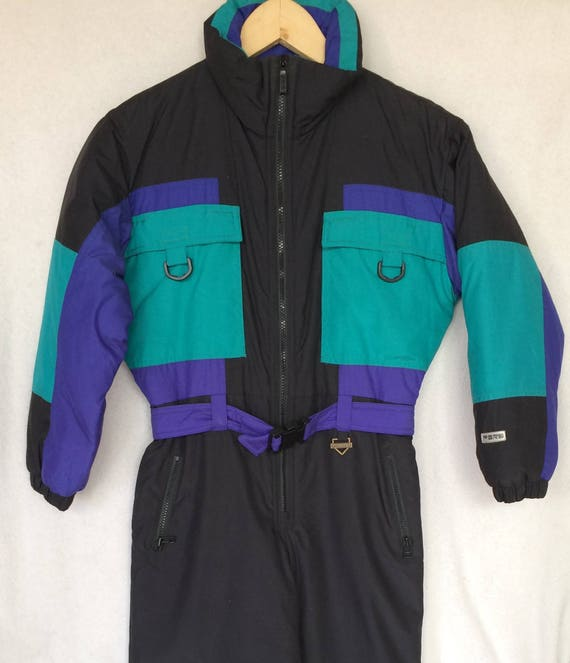 Fera Skiwear Insulated Black and Turquoise 90's One Piece Snow Boarding/Ski Suit.Junior Size 10