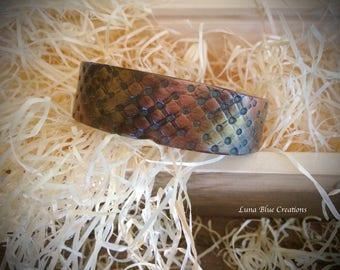 Polymer clay cuff bracelet,  faux metallic cuff bracelet, polymer clay bangle, polymer clay jewelry, cuff bangle, faux copper cuff bangle
