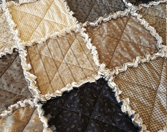 High Society Large Rag Quilt Throw - Charcoal, Gray, Taupe, Cream