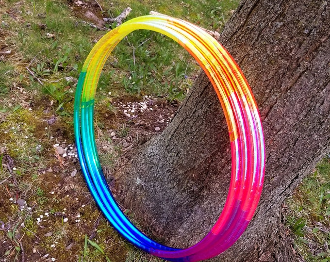 Polypro Hoop or HDPE //8 Colorshift Rainbow with Reflective Racer Stripe Performance Polypro or HDPE Hula Hoop Hula Hoop or Minis 3/4 or 5/8