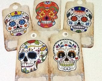 10 Sugar Skulls Thank You Tags