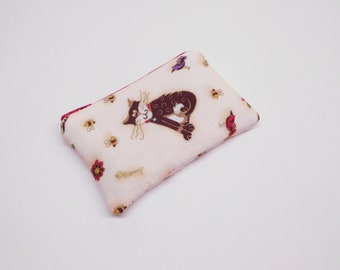 gold cream cat change purse, coin purse with cat, cat zipper pouch, cat zipper bag, small cat wallet, card holder, cat fishbone, cat bird