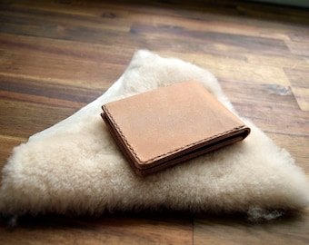 A Slim Kangaroo Leather Wallet With Under Pockets - Natural. Mens Gift. Birthday Gift. Groomsman Gift. Bitcoin Accepted.