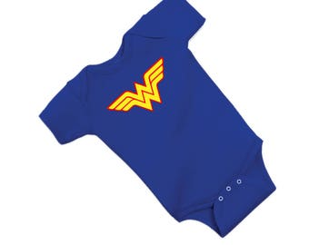 WONDER WOMAN baby onesie creeper little t shirt style for baby gift  fun outing outfit super hero girl power warrior E207
