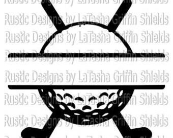 Golf Ball & Clubs Split SVG and DXF   Monogram   Last name
