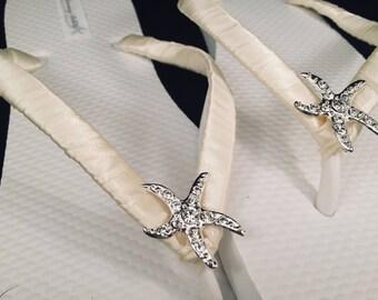 Corrine Bridal Flip Flops, Starfish Custom Flip Flops, Dancing Shoes, Starfish Bridal Sandals, Wedding Flip Flops, Beach Wedding Shoes