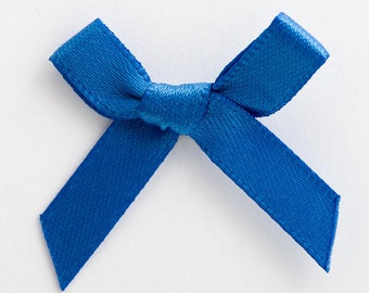 Satin Ribbon Pre Tied 3cm Bows - 100 Pack - 50 pack - 10 pack - Royal Blue