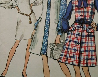 1970 Mod Style Dress with Coat Sewing Pattern 8705, Size 38, Bust 42, Uncut