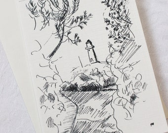 Scandinavian seaside scenary -  Lighthouse - Art card from original ink drawing