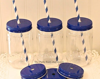Plastic Mason Jar, 10 Plastic Mason Jars with Metal Straw Hole Lids, Kids Party Cups, Mason Jar  Cups, Rustic Wedding Favor, Baby Showers