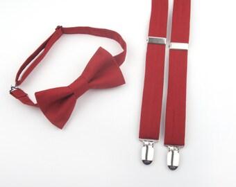 Marsala Bow Tie and Suspenders set, wine bow tie, wine suspenders, marsala bow tie, marsala suspenders, men's suspenders, marsala wedding