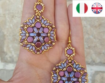 Pansè Earrings - beading pattern
