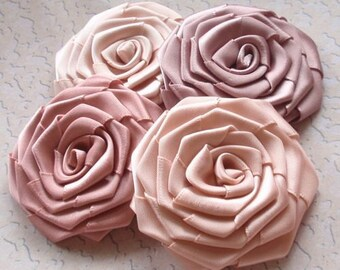 4 Handmade Ribbon Roses (2 inches) In Soft Color  MY-004 -02 Ready To Ship