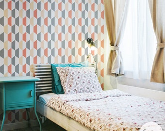 Geometric Wallpaper / Traditional or Removable Wallpaper M010