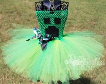 Creeper Minecraft Tutu Dress/ Creeper Costume