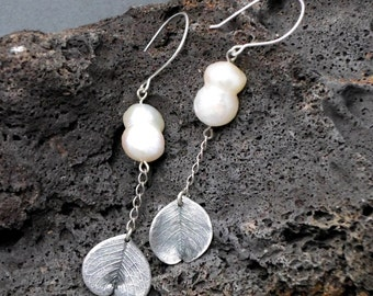 On Sale:  10% off. Pearl  Earrings with Leaves, Extra Long, Electroform  Silver, Natural Leaves, White Twin Pearls , Rustic,