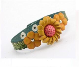 Genuine Leather Bracelet / Flower Bracelet / Handmade Bracelet /  Yellow Sunflower Bracelet /  Boho Bracelet