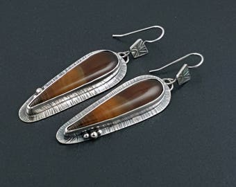 Banded Agate Earrings, long dangle earrings, sterling silver, brown stone earrings, brown silver, agate earrings, brown agate, michele grady