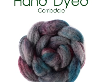 Hand Dyed Natural Grey Corriedale - 100g / 3.5 oz - Gray Blue Purple