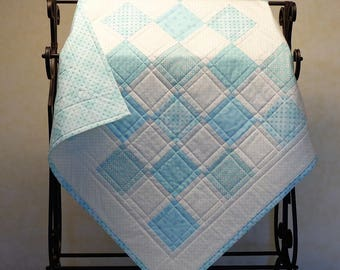 "Baby Quilt, Baby Blanket, Gender Neutral Baby Quilt, Receiving Blanket, Baby Shower Gift Idea, ""Teal Dreams"" Small Baby Quilt"