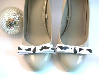Mustache Shoe Clips, Printed Shoe Clips, Ribbon Shoe Clips, Black and White Shoe Clips, Grosgrain Shoe Clips, Shoe Clips, Shoe Accessories
