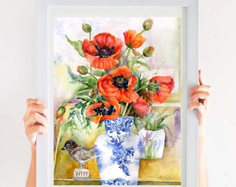 red poppy still life print-  watercolor poppy painting-  watercolor floral art- poppy painting- botanical flower print- poppies
