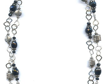 Black Onyx And Chain Necklace FD420